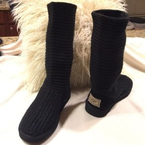 UGG Tall Knit Black Boots Size 7
